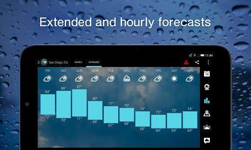 دراسة درجات الحرارة بالساعة , تطبيق الطقس