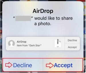 السماح باستقبال ملفات من خلال Airdrop